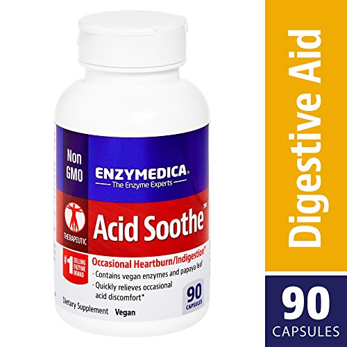 Enzymedica, Acid Soothe, Promotes Relief from Heartburn and Indigestion While Helping to Strengthen The Stomach Lining, Vegan, Non-GMO, 90 Capsules (90 Servings)
