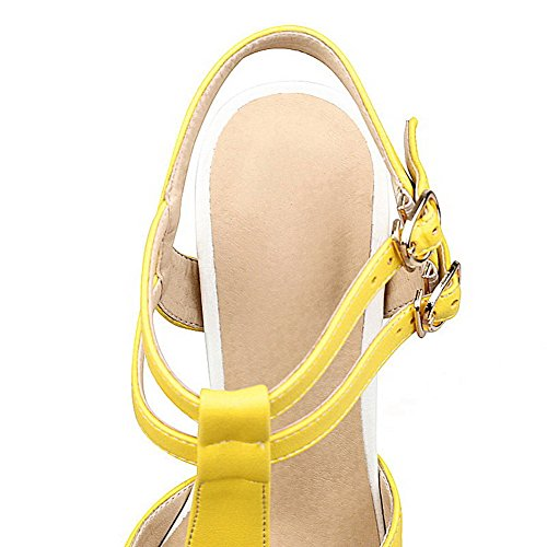 AgooLar Mujeres Hebilla Peep Tacón ancho Pu Sólido Sandalia Amarillo