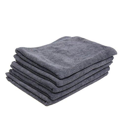 (DealMux 5pcs 65 x 33cm 250GSM Microfiber Towel Clean Cloths for Car Washing Gray)
