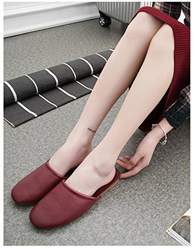 for Wooden Fiber W Super Slippers Leather Women Soft and Summer Fonc¨¦ TELLW Autumn Spring Floor Rouge Light Men 8Pq5BU