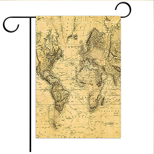 BEICICI Garden Flag Double Sided Decorative Flags Vintage map of The World 1831 Decorative Deck, Porch, Patio, Balcony Backyard, Garden or Lawn