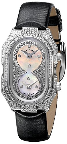 Philip Stein Women's 14PD-PDWB-IB Prestige Pave Stainless Steel Watch with Leather Band