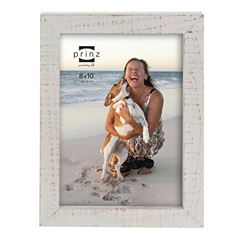Prinz Madison Distressed Solid Wood Frame, 8 by 10-Inch, White