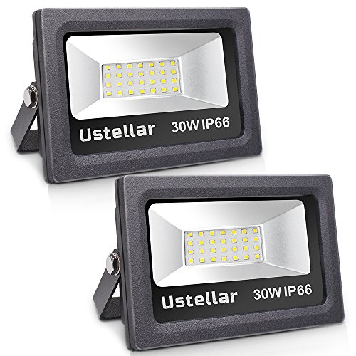 Ustellar 2 Pack 30W LED Flood Light, IP66 Waterproof, 2400lm, 150W Halogen Bulb Equivalent Outdoor Super Bright Security Lights, 5000K Daylight White, Floodlight Landscape Wall Lights (Daylight Floodlight)