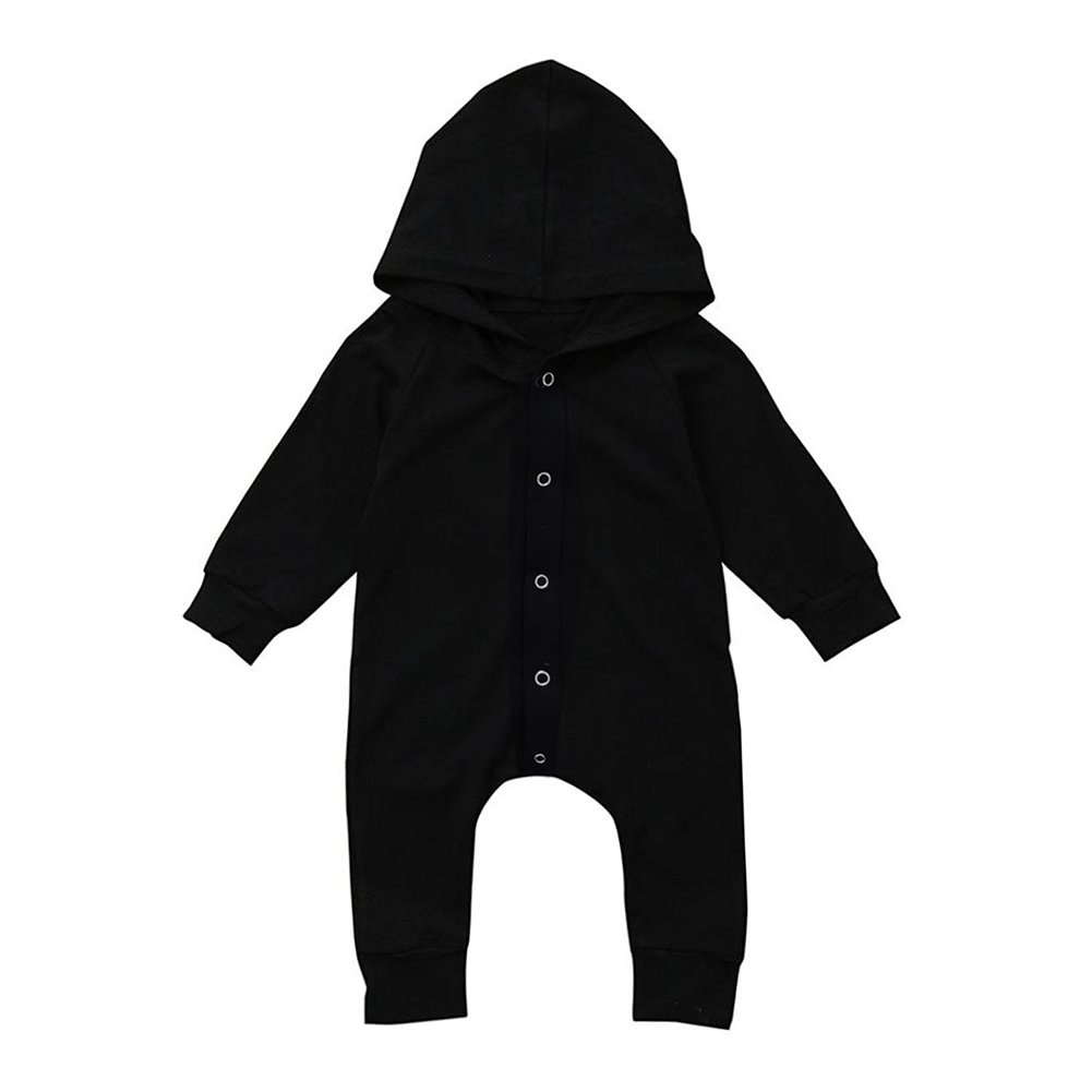 GRNSHTS Baby Boys Girls Black Snap Long Sleeve Hoodie Onesie Jumpsuit (Black, 70/0-6 Months)