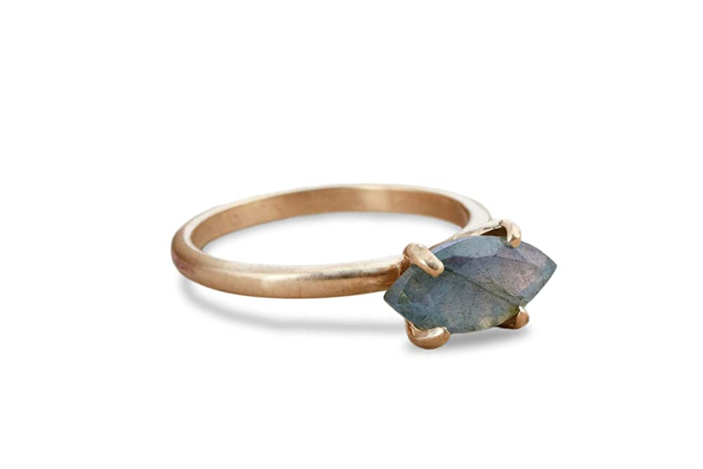 Anemone Unique Classy Labradorite Rose Gold Ring Elegant 6x12mm 3.87 Carats Marquise-Shape Labradorite Gold Ring Stunning Artisan Gold Ring