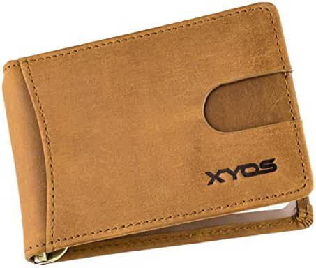 RFID Blocking Men's Bi-Fold Genuine Leather Slim Money Clip Front Pocket Wallet