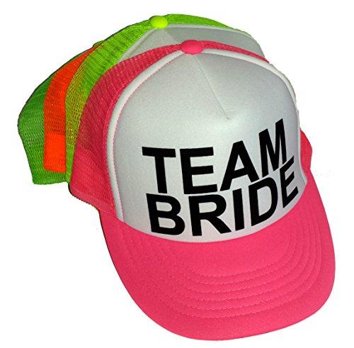 Neon Team Bride Mesh Trucker Hat Cap Bachelorette Party Wedding Snapback (Team Bride, Neon Pink)