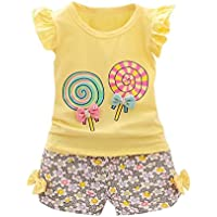 2680e666066 Fabal 2Pc Baby Girl Clothes Summer Tee +Short Pants Kids Girls Casual  Outfits Lolly