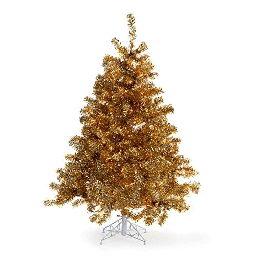 Artificial Christmas Tree. This Fake 4.5 Foot Xmas Champagne Gold Tree With Densely Foliage. Classic Pine Shape, Compact, Looks Festively & Stylish. Great For Indoor & Holiday Season Party Decor. by Artificial-Christmas-Tree