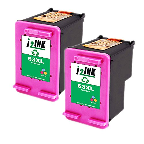 J2INK 2 Tri-Color Remanufactured Ink Cartridge for HP 63XL F6U63A High Yield