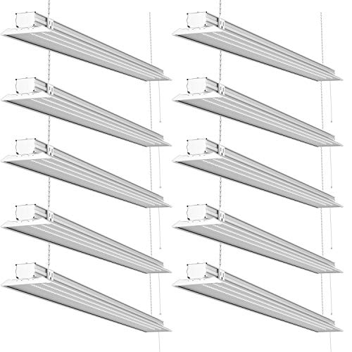 Sunco Lighting 10 Pack 4ft 48 Inch LED Flat Utility Shop Light 40W (300W EQ) 5000K Kelvin Daylight, 4500 Lumens, Double Integrated Linkable Garage Ceiling Fixture, Clear Lens - Energy Star/ETL