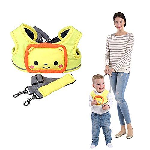 WYT Toddler Safety Walking Reins Harness Belt Adjustable Strap Walk Assistant,Yellow Lion