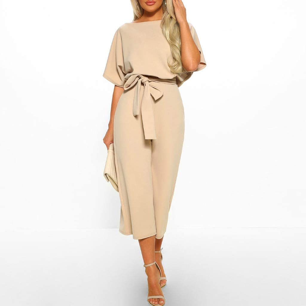 iYYVV Womens Short Sleeve Solid Playsuit Clubwear Straight Leg Jumpsuit with Belt