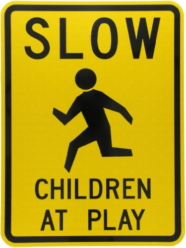 """Tapco W9-12 Engineer Grade Prismatic Rectangular School Sign, Legend """"SLOW CHILDREN AT PLAY with Symbol"""", 18"""" Width x 24"""" Height, Aluminum, Black on Yellow"""