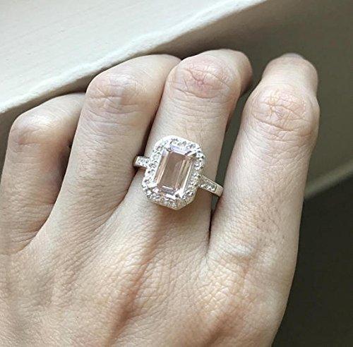 Emerald Cut Morganite Ring- Morganite Engagement Ring- Morganite Promise Ring- Simple Halo Rectangle Ring- Pink Anniversary Ring