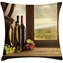 Lunarable Winery Throw Pillow Cushion Cover, Dark Clouds over Vineyard Rainy Weather View from Window of Farmhouse Scenery, Decorative Square Accent Pillow Case, 36 X 36 Inches, Green Brown Red