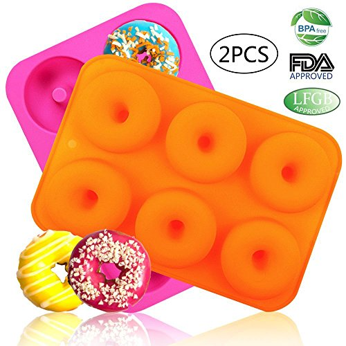 LoveS (2pcs) 6-Cavity Silicone Donut Baking Pan/Non-Stick Donut Mold, Dishwasher, Oven, Microwave, Freezer ()