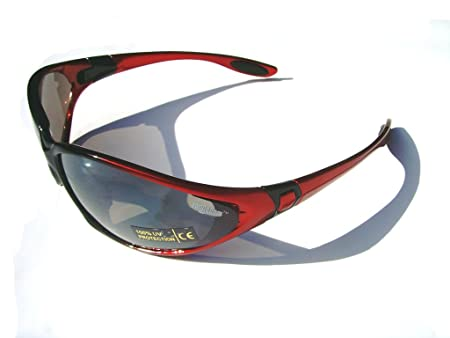 Ladgecom Lunettes de soleil toute saison rouges avec sangle de maintien pour le cyclisme, la course et les sports de ski