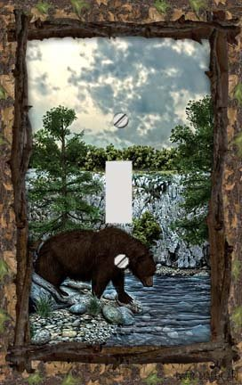 Bear Lodge Decorative Switchplate Cover - Bear Single Switchplate
