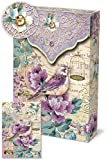 Punch Studio Pouch Note Cards Purple Bird with Gold Bird Cages 46572