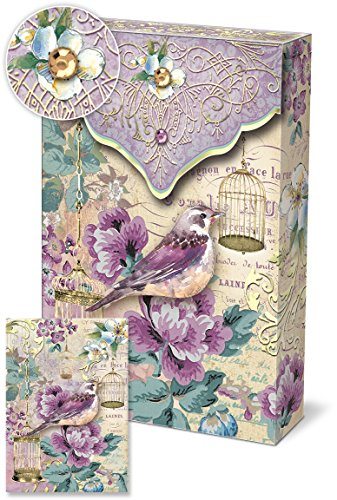 Punch Studio Pouch Note Cards Purple Bird with Gold Bird Cages 46572 (Bird Wedding Card Cage Box)