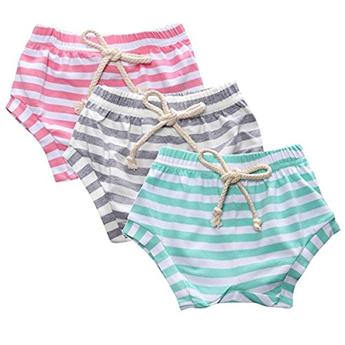 Kids Baby Boys Girls 3 Pack Summer Striped Training French Terry Pants Shorts Drawstring Bloomers 3T