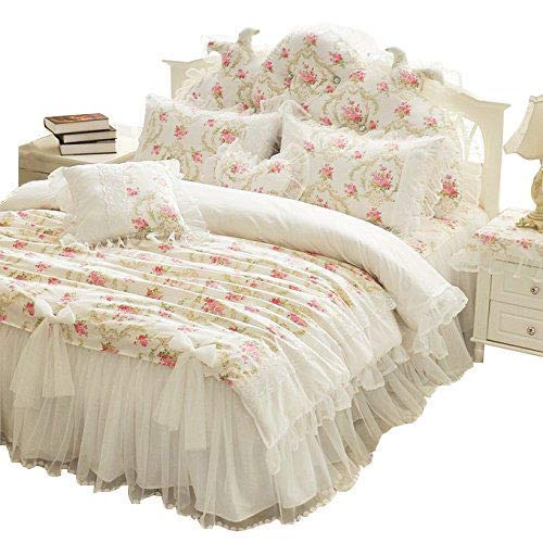 HNNSI Cotton Girls Princess Duvet Cover Set with Lace Ruffle Bed Skirt 4 Pieces, Romantic Korean Bedding Sets, Vintage Floral Print Girls Comforter Cover Sets (Beige, Twin)