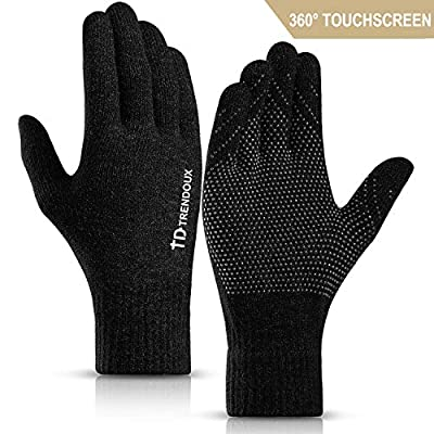 TRENDOUX Knit Touch Screen Winter Gloves - Unisex Glove - Elastic Cuff - Thermal Soft Wool Lining - Stretchy Material
