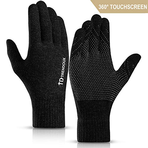 TRENDOUX Touchscreen Gloves, Knit 360° Whole Palm Touch Screen Winter Glove Men Women Texting Smartphone Driving - Anti-Slip Silicone Gel - Thermal Soft Wool Lining - Warm in Cold Weather - Black - M