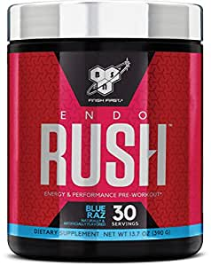 BSN Endorush Energy & Performance Pre-workout Powder With Creatine, 30 Servings, Blue Raspberry, 13.7 Ounce