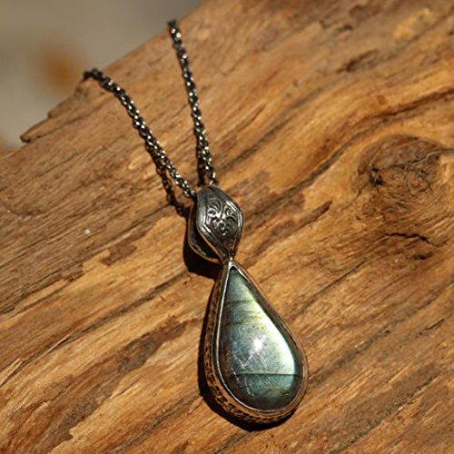Bezel Set Labradorite Gemstone 925 Sterling Silver Tear Drop Handmade Pendant Jewelry