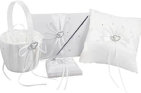 4p Wedding Rustic Burlap Wood Heart Ring Pillow Flower Basket Guest Book Pen