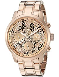 GUESS Women's U0330L16 Rose Gold-Tone Multi-Function Watch with Python Print Dial