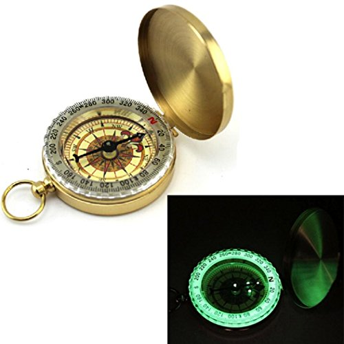 Iuhan® Pocket Brass Watch Style Outdoor Camping Hiking Navigation Compass Ring Keychain (Luminous Key Ring Compass)