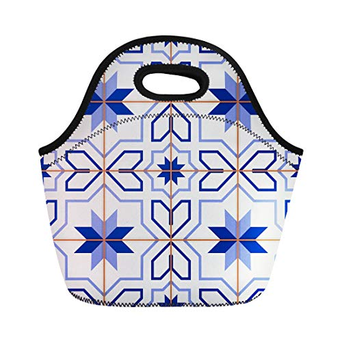Tinmun Lunch Tote Bag Blue Gorgeous White Turkish Moroccan Portuguese Tiles Azulejo Pattern Reusable Neoprene Bags Insulated Thermal Picnic Handbag for Women ()