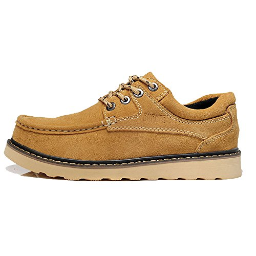[iLory Mens Casual Lace Up Boat shoes Suede Leather Walking Outdoor Moc Toe Work Shoes] (Moc Toe Work Shoes)