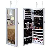 Giantex Wall Door Mounted Lockable Jewelry Cabinet Mirrored Armoire Jewelry Holder, with Two Storage Drawer Organizer with LED Lights and Keys, White