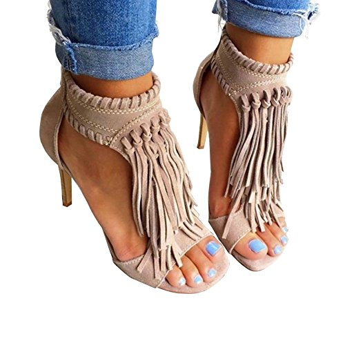 Fringe Shoes (Huiyuzhi Womens Open Toe Fringe Tassel Sandal High Heel Pump Sandal,Apricot ,9.5 B(M) US, Label 43)