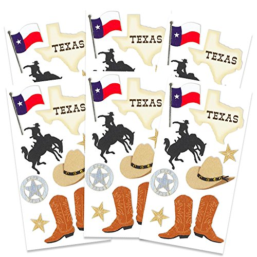 Texas Party Supplies - Texas Stickers Party Supplies Pack -- 6 Texas Party Favor Sheets