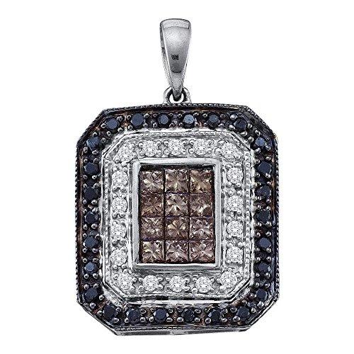 Sonia Jewels 14K White Gold Invisible Set Princess Cut & Round Chocolate Brown, White & Black Emerald-Shape Diamond Pendant Charm (3/4 cttw.) (Princess Set Diamond Pendant Invisible)