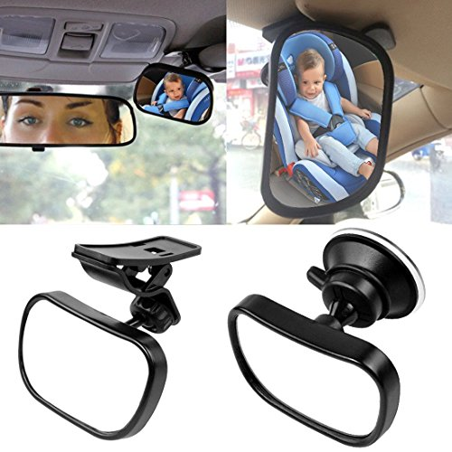 KOBWA Baby Car Mirror Rear Facing - View Infant/Toddler In Back Seat - Shatter-proof Safety - New Sucktion Cup on Windshield or Clip on Car Sun Visor