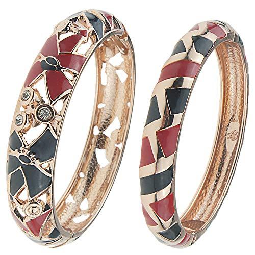 - UJOY Enamel Golden Filigree Hollowed Bracelets Handmade Open Cuff Multi-Color Indian Jewelry Spring Hinge Bangles 88A13 Black red