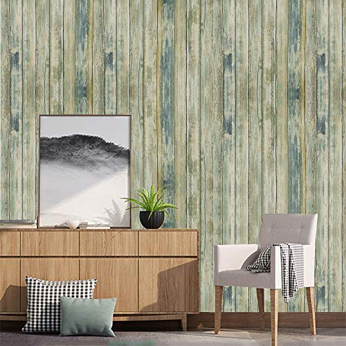 17.71x78.7Blue Distressed Wood Contact Paper Peel and Stick Wallpaper Self-Adhesive Removable Wall Covering Decorative Vintage Wood Panel Faux Distressed Wood Plank Wooden Grain Film Vinyl