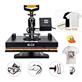 CO-Z 8 in 1 15'' X 15'' Heat Press 360 Degree Swivel Heat Press Machine Multifunction Sublimation Combo T Shirt Press Machine for Mug Hat Plate Cap Mouse Pad Dual Displays 1400W (8 in 1)