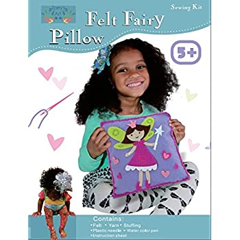 Sew and Stuff Kit. Fairy Pillow Ideal Kids Craft Kit Includes all Supplies. Fun Activity. Ages 5-12. All Inclusive Arts and Crafts, Fairy Princess w/ Vibrant Colors Ideal Rainy Day Activity