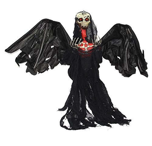 [Reaper | 3 Feet  Flying Ghost Reaper | Big Black Winged Animated Halloween Decoration | Dazzling Toys] (Cheap Halloween Animatronics)
