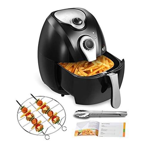 KUPPET Air Fryer-Hot Air/Deep Fryer with Basket/Rapid Air Technology For Less or No Oil/Timer & Temperature Control/8 Cooking Presets/Included Recipe,Steamer,Fryer Pan (4.4QT, Black)