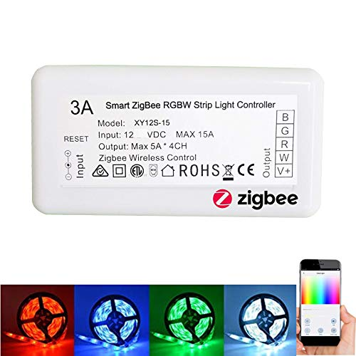 Smart ZigBee Strip Light Switch Controller for Echo Alexa Voice Control Smart Phone APP Control RGBW or White Colour Strip Lights, Compatible with Hue and Lightify Hub
