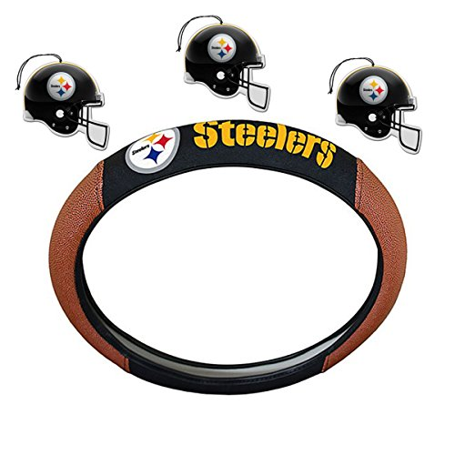 NFL Fan Shop Auto Bundle. Premium Pigskin Leather Accented Steering Wheel Cover with Embroidered Team Name and Logo along with a 3-Pack of Team Helmet Air Fresheners (Pittsburgh Steelers) (Pittsburgh Steelers Fox)